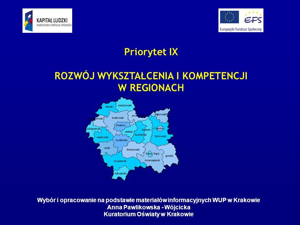 Program Operacyjny Kapitał Ludzki Komponent Regionalny - Małopolska PROPOZYCJA DLA SZKÓŁ I PLACÓWEK OŚWIATOWYCH