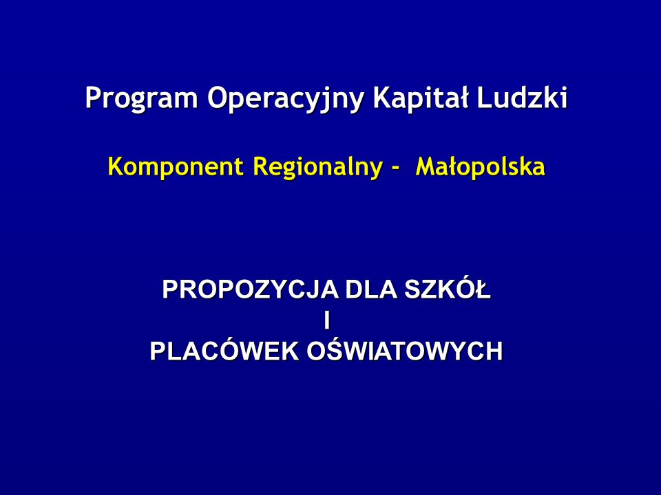System wdrażania PO KL Departament Zarządzania EFS  Instytucja Zarządzająca - Departament Zarządzania EFS w Ministerstwie Rozwoju Regionalnego (Warszawa, ul.