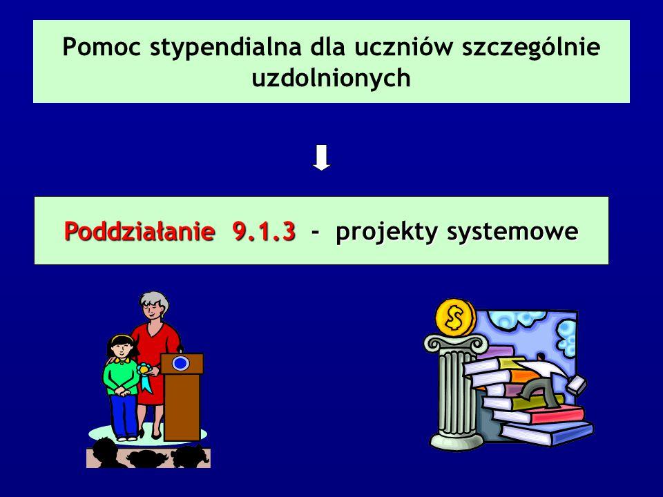 Pomoc stypendialna dla uczniów szczególnie uzdolnionych Poddziałanie 9.1.3 - projekty systemowe
