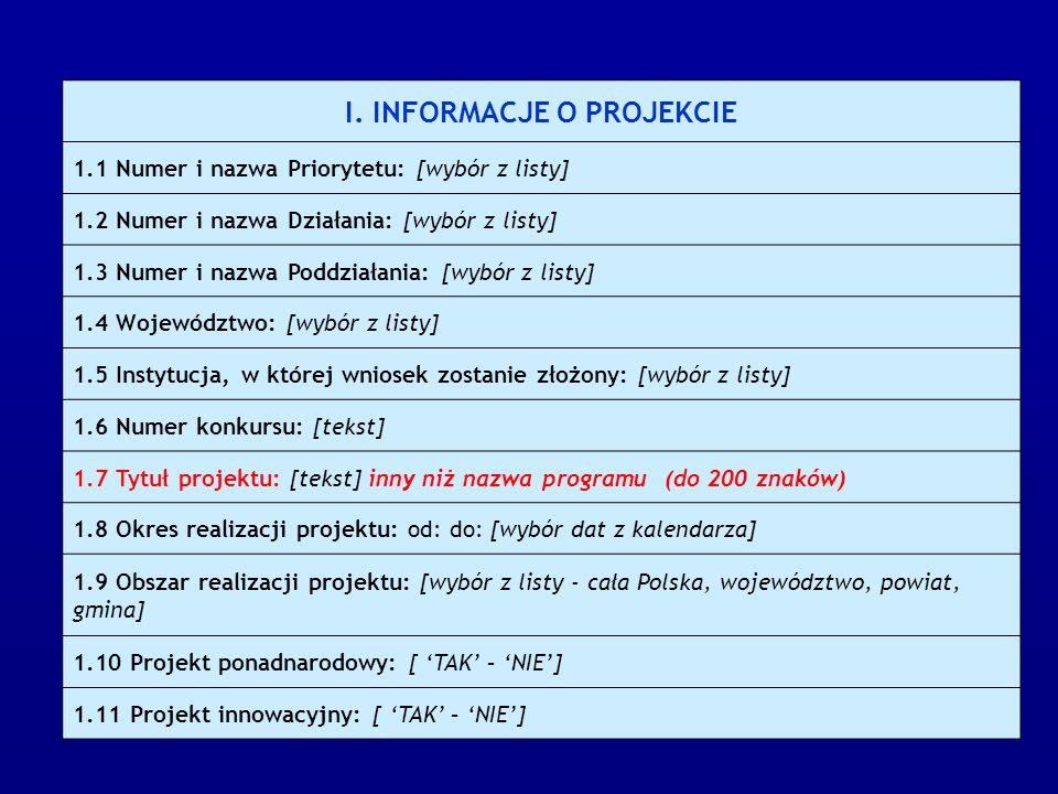 I. INFORMACJE O PROJEKCIE 1.1 Numer i nazwa Priorytetu: [wybór z listy] 1.2 Numer i nazwa Działania: [wybór z listy] 1.3 Numer i nazwa Poddziałania: [
