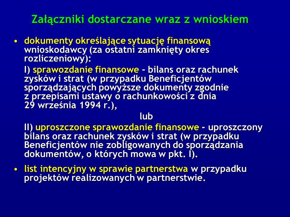 Załączniki dostarczane wraz z wnioskiem dokumenty określające sytuację finansową wnioskodawcy (za ostatni zamknięty okres rozliczeniowy):dokumenty określające sytuację finansową wnioskodawcy (za ostatni zamknięty okres rozliczeniowy): I) sprawozdanie finansowe - bilans oraz rachunek zysków i strat (w przypadku Beneficjentów sporządzających powyższe dokumenty zgodnie z przepisami ustawy o rachunkowości z dnia 29 września 1994 r.), lub II) uproszczone sprawozdanie finansowe - uproszczony bilans oraz rachunek zysków i strat (w przypadku Beneficjentów nie zobligowanych do sporządzania dokumentów, o których mowa w pkt.