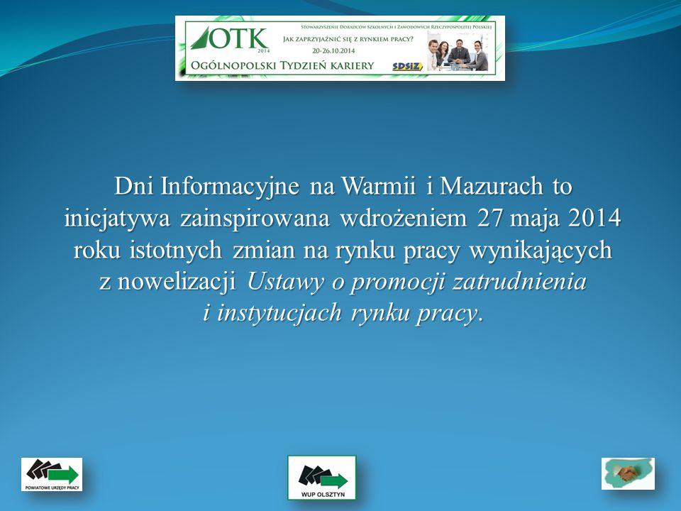 Głównym celem akcji informacyjno-promocyjnej było upowszechnienie informacji na temat nowych form wsparcia przede wszystkim dla osób młodych, osób powyżej 50 r.ż.