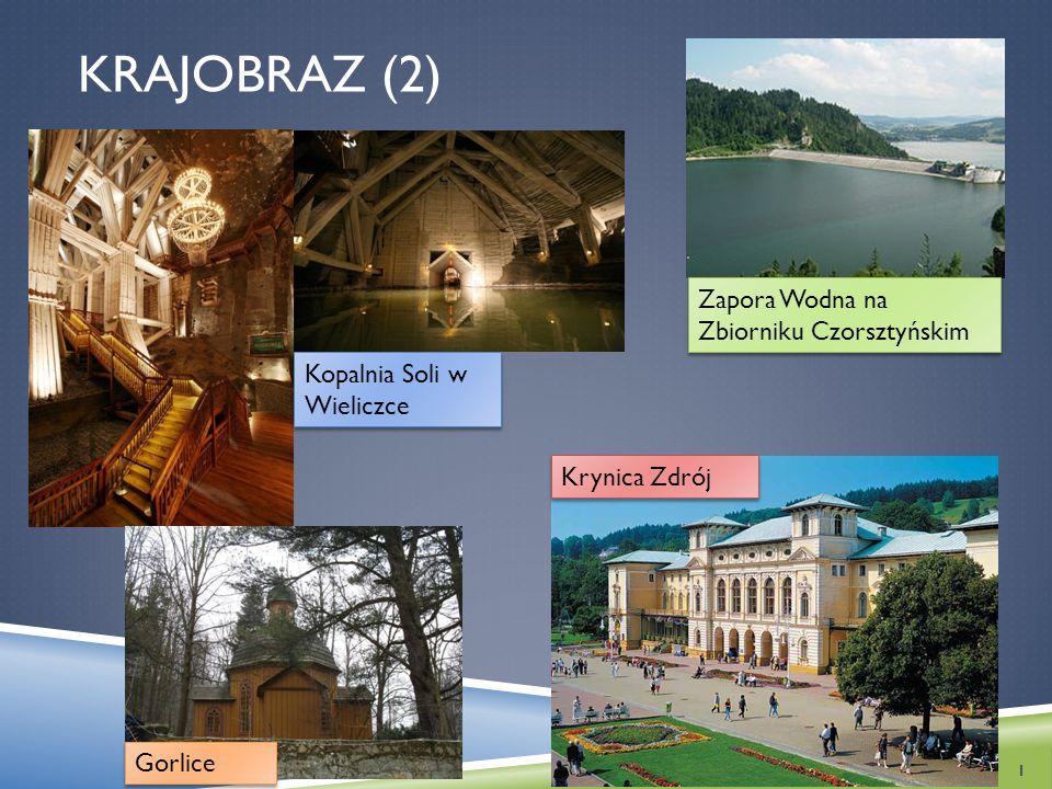 KRAJOBRAZ (2) 1 Kopalnia Soli w Wieliczce Krynica Zdrój Zapora Wodna na Zbiorniku Czorsztyńskim Gorlice