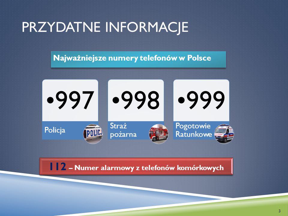 PRZYDATNE INFORMACJE Najważniejsze numery telefonów w Polsce 3 997 Policja 998 Straż pożarna 999 Pogotowie Ratunkowe 112 – Numer alarmowy z telefonów