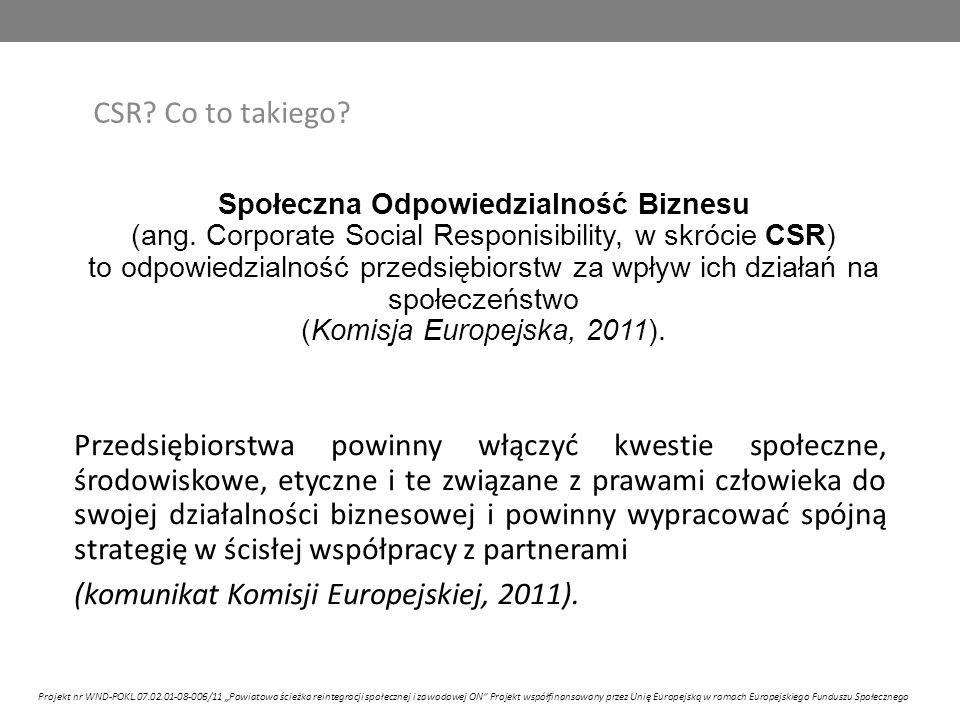 """CSR to harmonijne funkcjonowanie i rozwój, przedsiębiorstw i otoczenia korzyści biznesu: TAK korzyści otoczenia: NIE CSR: NIE Projekt nr WND-POKL.07.02.01-08-006/11 """"Powiatowa ścieżka reintegracji społecznej i zawodowej ON Projekt współfinansowany przez Unię Europejską w ramach Europejskiego Funduszu Społecznego"""