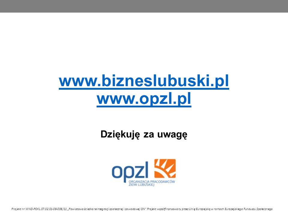 """www.bizneslubuski.pl www.opzl.pl www.bizneslubuski.pl www.opzl.pl Dziękuję za uwagę Projekt nr WND-POKL.07.02.01-08-006/11 """"Powiatowa ścieżka reintegracji społecznej i zawodowej ON Projekt współfinansowany przez Unię Europejską w ramach Europejskiego Funduszu Społecznego"""