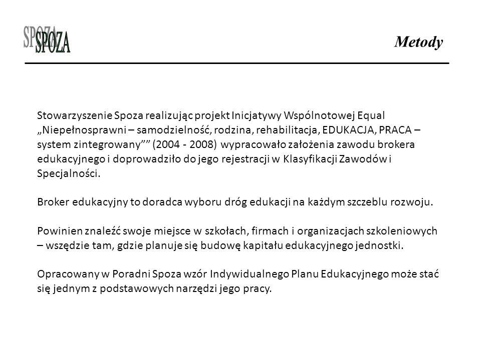 """Metody Stowarzyszenie Spoza realizując projekt Inicjatywy Wspólnotowej Equal """"Niepełnosprawni – samodzielność, rodzina, rehabilitacja, EDUKACJA, PRACA"""