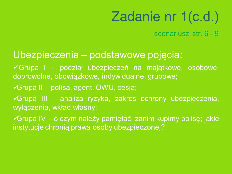 Zadanie nr 1(c.d.) scenariusz str.
