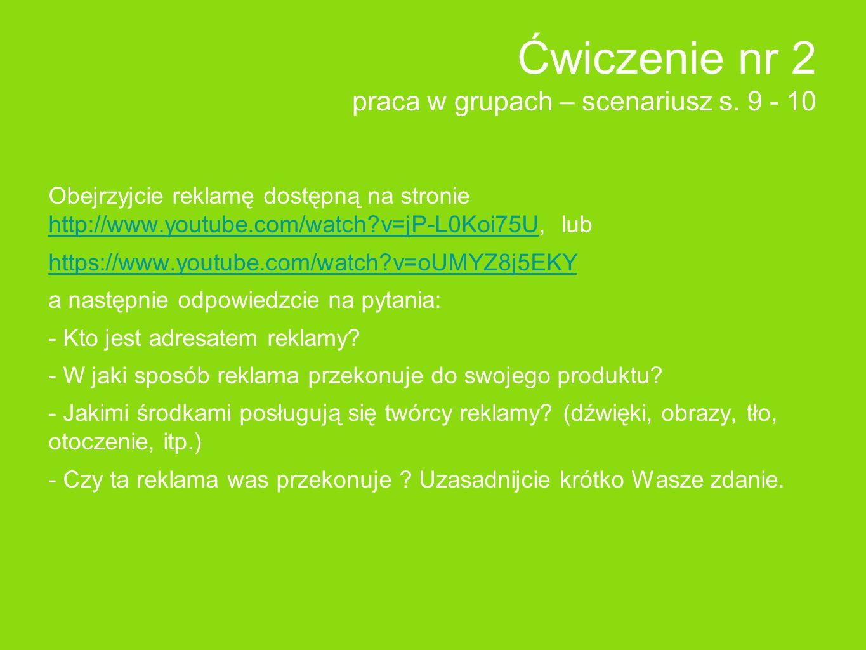 Ćwiczenie nr 2 praca w grupach – scenariusz s.
