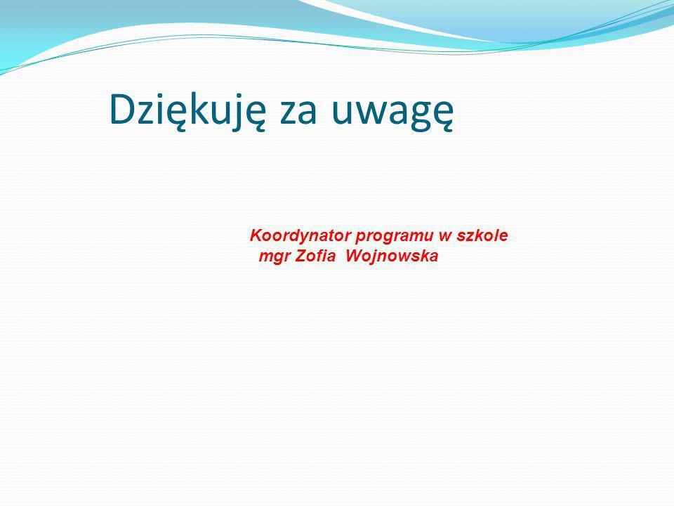 Dziękuję za uwagę Koordynator programu w szkole mgr Zofia Wojnowska