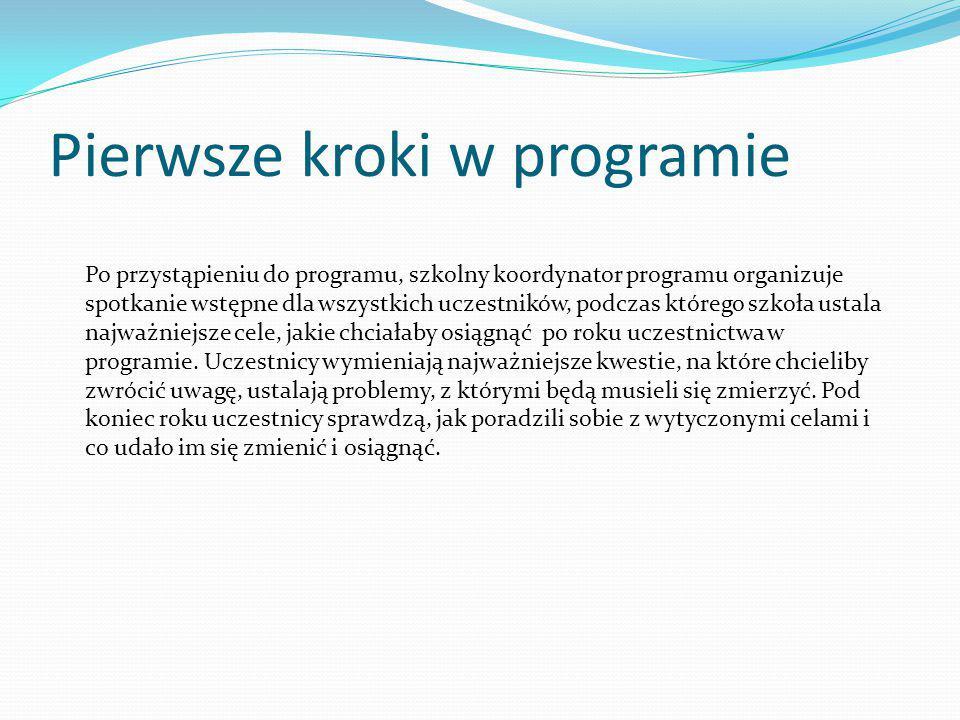 Pierwsze kroki w programie Po przystąpieniu do programu, szkolny koordynator programu organizuje spotkanie wstępne dla wszystkich uczestników, podczas