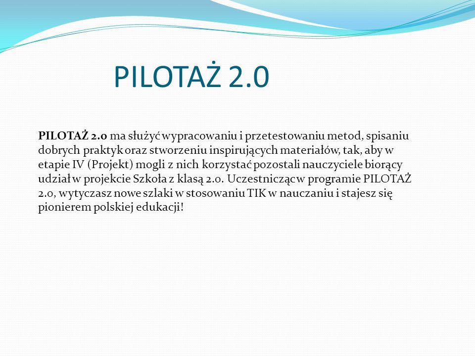 PILOTAŻ 2.0 PILOTAŻ 2.0 ma służyć wypracowaniu i przetestowaniu metod, spisaniu dobrych praktyk oraz stworzeniu inspirujących materiałów, tak, aby w e