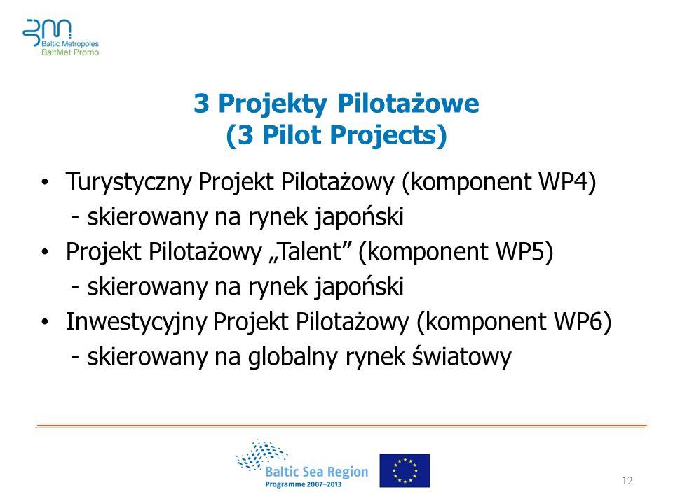 """12 3 Projekty Pilotażowe (3 Pilot Projects) Turystyczny Projekt Pilotażowy (komponent WP4) - skierowany na rynek japoński Projekt Pilotażowy """"Talent (komponent WP5) - skierowany na rynek japoński Inwestycyjny Projekt Pilotażowy (komponent WP6) - skierowany na globalny rynek światowy 12"""