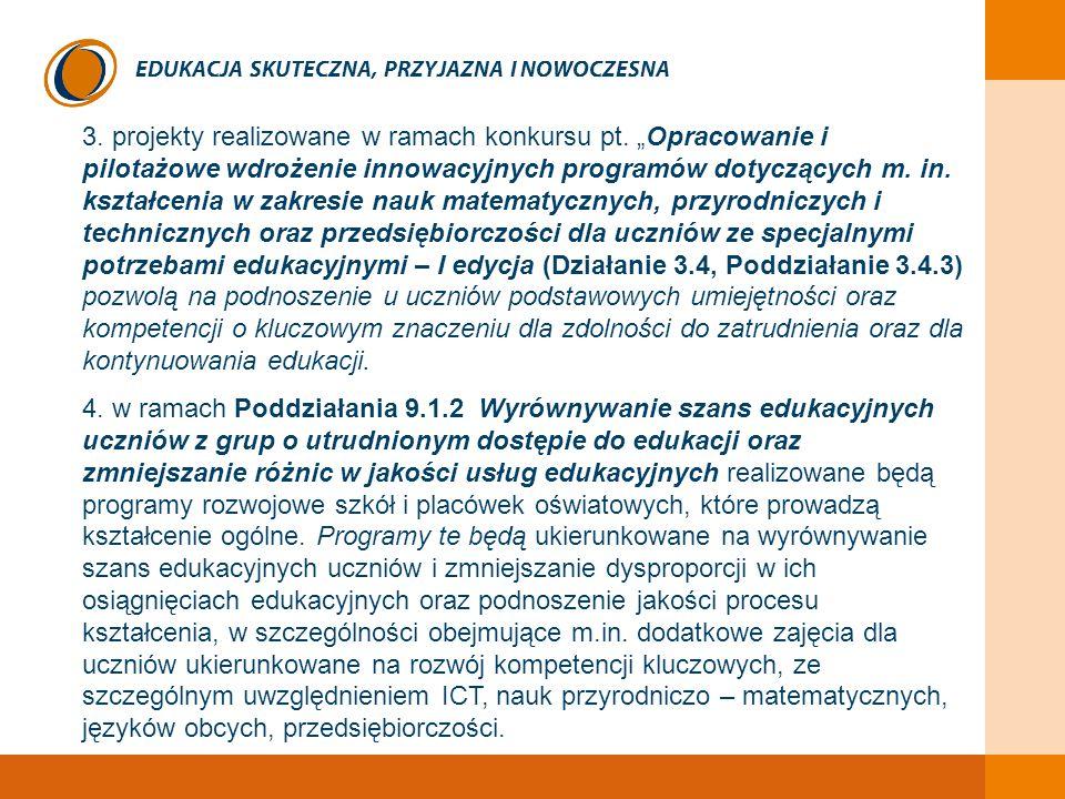 """EDUKACJA SKUTECZNA, PRZYJAZNA I NOWOCZESNA 3. projekty realizowane w ramach konkursu pt. """"Opracowanie i pilotażowe wdrożenie innowacyjnych programów d"""