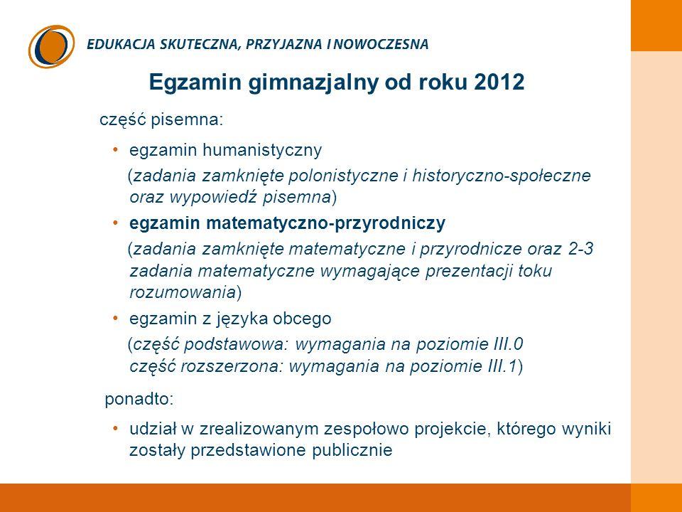 EDUKACJA SKUTECZNA, PRZYJAZNA I NOWOCZESNA Egzamin gimnazjalny od roku 2012 część pisemna: egzamin humanistyczny (zadania zamknięte polonistyczne i hi