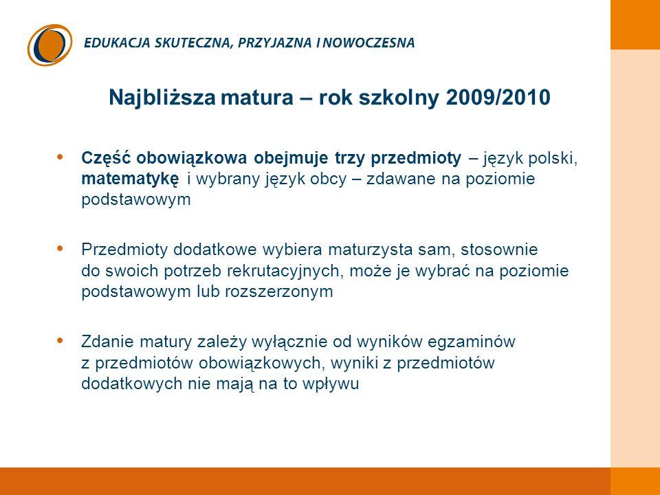 EDUKACJA SKUTECZNA, PRZYJAZNA I NOWOCZESNA Najbliższa matura – rok szkolny 2009/2010 Część obowiązkowa obejmuje trzy przedmioty – język polski, matema