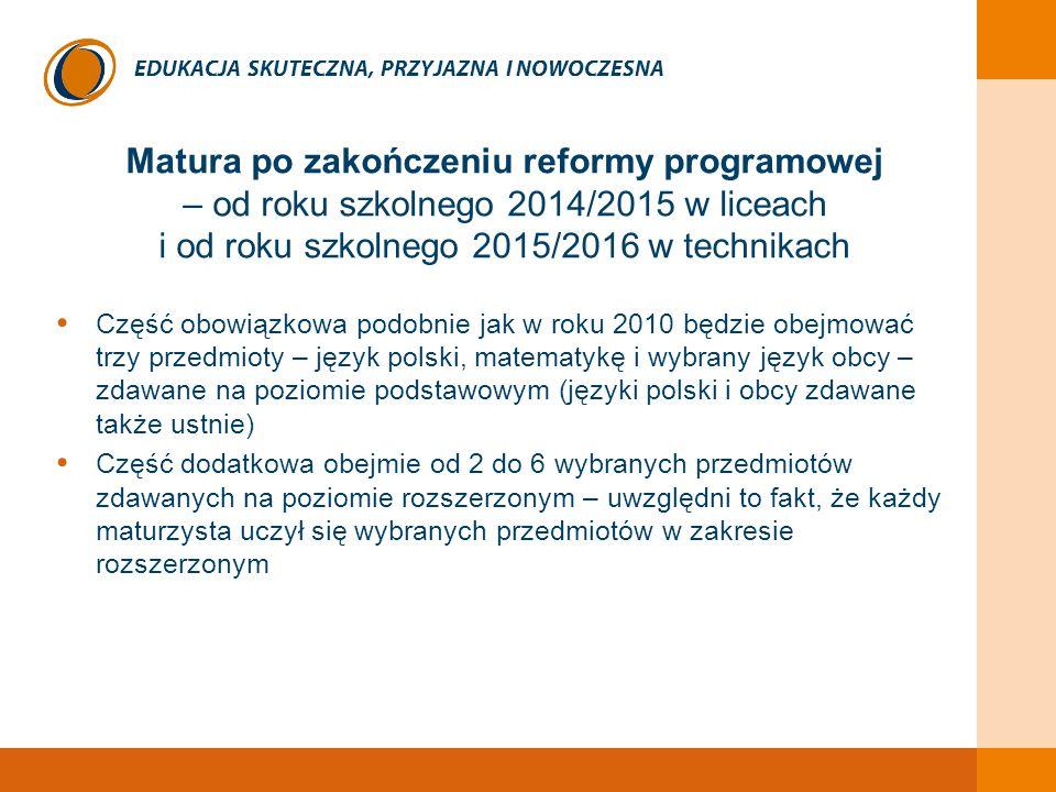 EDUKACJA SKUTECZNA, PRZYJAZNA I NOWOCZESNA Matura po zakończeniu reformy programowej – od roku szkolnego 2014/2015 w liceach i od roku szkolnego 2015/