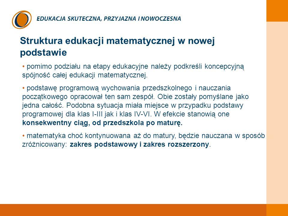 EDUKACJA SKUTECZNA, PRZYJAZNA I NOWOCZESNA Struktura edukacji matematycznej w nowej podstawie pomimo podziału na etapy edukacyjne należy podkreśli kon