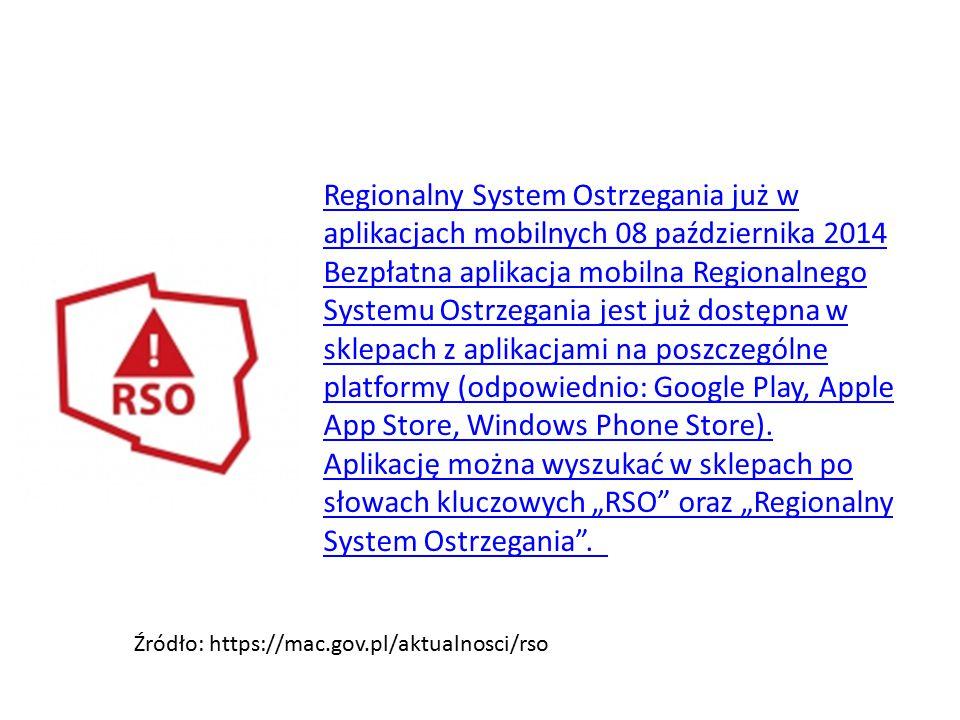 Regionalny System Ostrzegania już w aplikacjach mobilnych 08 października 2014 Bezpłatna aplikacja mobilna Regionalnego Systemu Ostrzegania jest już dostępna w sklepach z aplikacjami na poszczególne platformy (odpowiednio: Google Play, Apple App Store, Windows Phone Store).