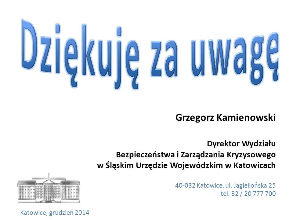 Grzegorz Kamienowski Dyrektor Wydziału Bezpieczeństwa i Zarządzania Kryzysowego w Śląskim Urzędzie Wojewódzkim w Katowicach 40-032 Katowice, ul.