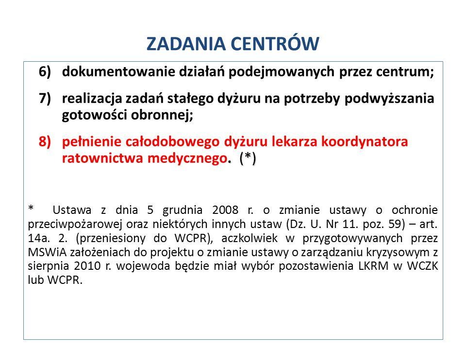 6)dokumentowanie działań podejmowanych przez centrum; 7)realizacja zadań stałego dyżuru na potrzeby podwyższania gotowości obronnej;.