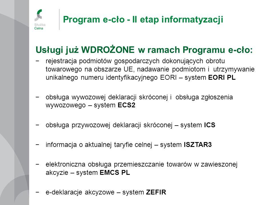 Program e-cło - II etap informatyzacji Usługi już WDROŻONE w ramach Programu e-cło: −rejestracja podmiotów gospodarczych dokonujących obrotu towarowego na obszarze UE, nadawanie podmiotom i utrzymywanie unikalnego numeru identyfikacyjnego EORI – system EORI PL −obsługa wywozowej deklaracji skróconej i obsługa zgłoszenia wywozowego – system ECS2 −obsługa przywozowej deklaracji skróconej – system ICS −informacja o aktualnej taryfie celnej – system ISZTAR3 −elektroniczna obsługa przemieszczanie towarów w zawieszonej akcyzie – system EMCS PL −e-deklaracje akcyzowe – system ZEFIR