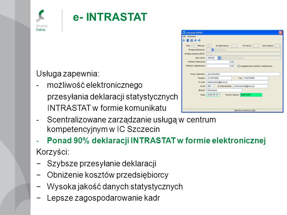 e- INTRASTAT Usługa zapewnia: -możliwość elektronicznego przesyłania deklaracji statystycznych INTRASTAT w formie komunikatu -Scentralizowane zarządzanie usługą w centrum kompetencyjnym w IC Szczecin -Ponad 90% deklaracji INTRASTAT w formie elektronicznej Korzyści: −Szybsze przesyłanie deklaracji −Obniżenie kosztów przedsiębiorcy −Wysoka jakość danych statystycznych −Lepsze zagospodarowanie kadr