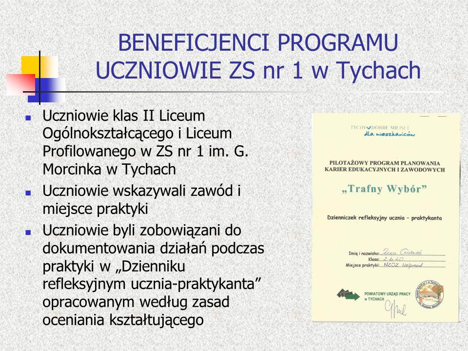 BENEFICJENCI PROGRAMU UCZNIOWIE ZS nr 1 w Tychach Uczniowie klas II Liceum Ogólnokształcącego i Liceum Profilowanego w ZS nr 1 im.
