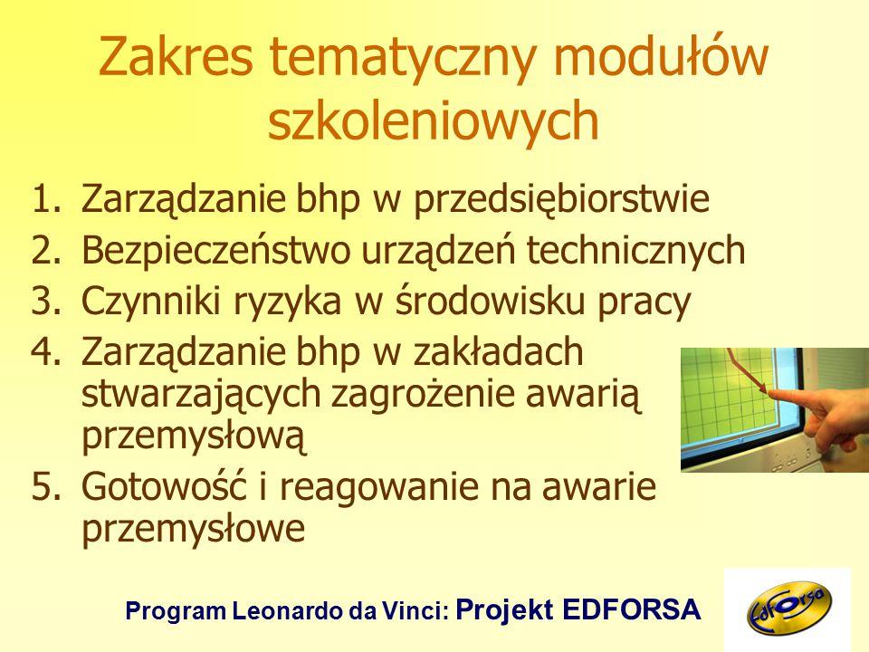 Program Leonardo da Vinci: Projekt EDFORSA Zakres tematyczny modułów szkoleniowych 1.Zarządzanie bhp w przedsiębiorstwie 2.Bezpieczeństwo urządzeń technicznych 3.Czynniki ryzyka w środowisku pracy 4.Zarządzanie bhp w zakładach stwarzających zagrożenie awarią przemysłową 5.Gotowość i reagowanie na awarie przemysłowe