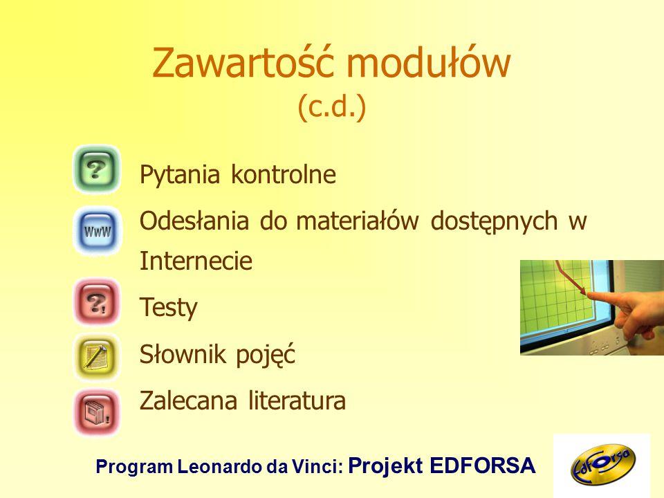 Program Leonardo da Vinci: Projekt EDFORSA Zawartość modułów (c.d.) Pytania kontrolne Odesłania do materiałów dostępnych w Internecie Testy Słownik pojęć Zalecana literatura