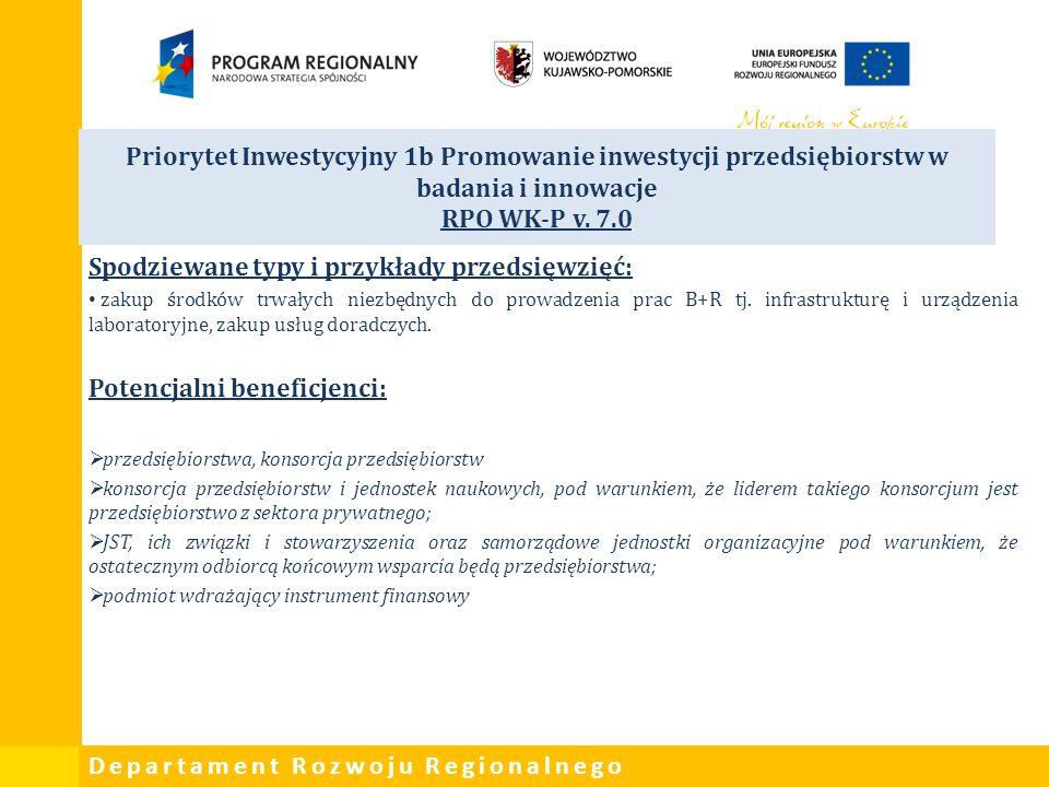 Departament Rozwoju Regionalnego Priorytet Inwestycyjny 1b Promowanie inwestycji przedsiębiorstw w badania i innowacje RPO WK-P v. 7.0 Spodziewane typ