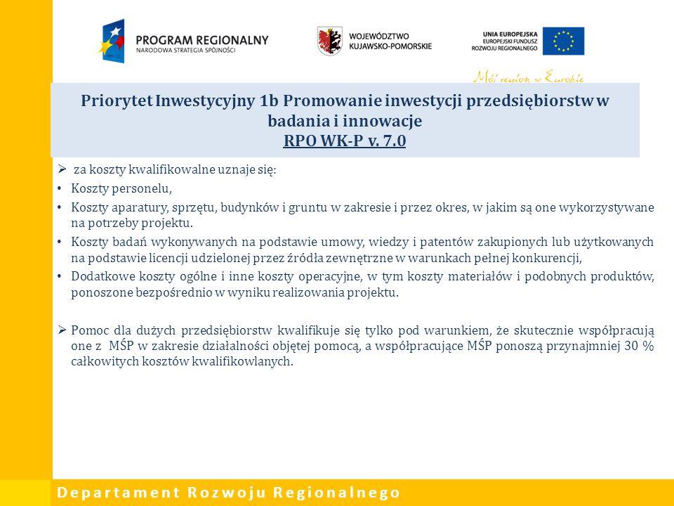 Departament Rozwoju Regionalnego Priorytet Inwestycyjny 1b Promowanie inwestycji przedsiębiorstw w badania i innowacje RPO WK-P v. 7.0  za koszty kwa