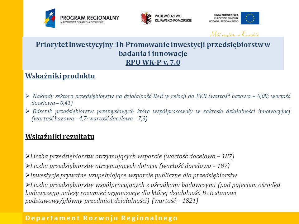 Departament Rozwoju Regionalnego Priorytet Inwestycyjny 1b Promowanie inwestycji przedsiębiorstw w badania i innowacje RPO WK-P v. 7.0 Wskaźniki produ