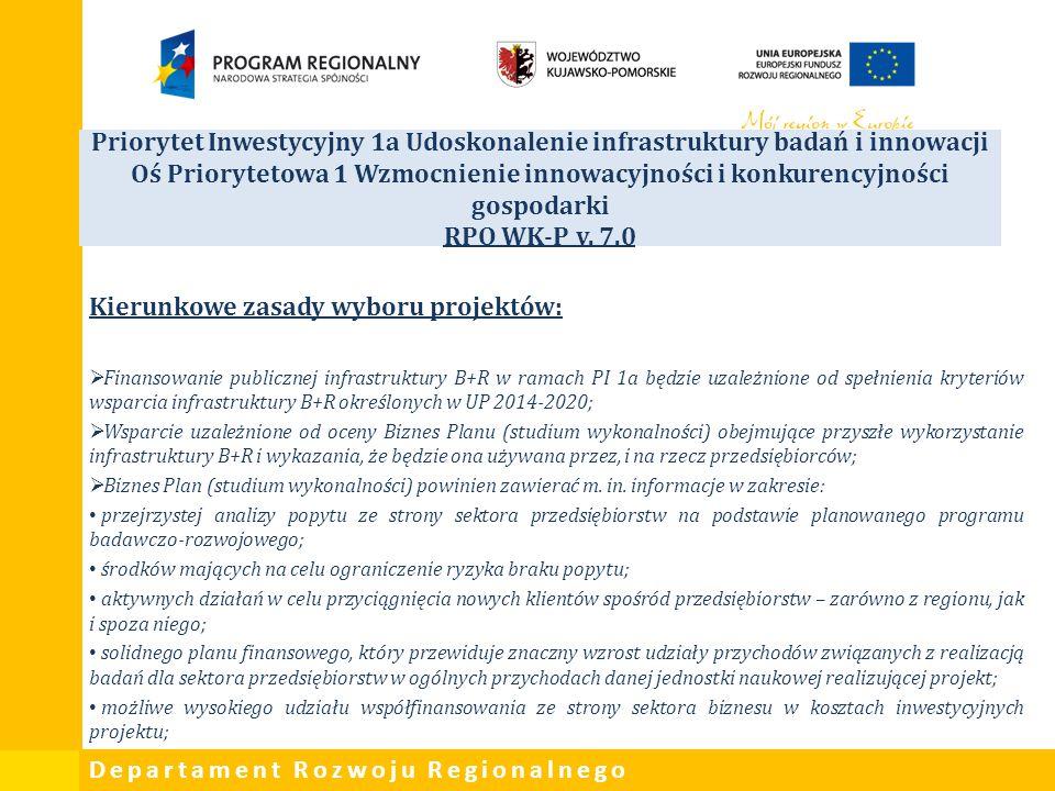 Departament Rozwoju Regionalnego Priorytet Inwestycyjny 1a Udoskonalenie infrastruktury badań i innowacji Oś Priorytetowa 1 Wzmocnienie innowacyjności