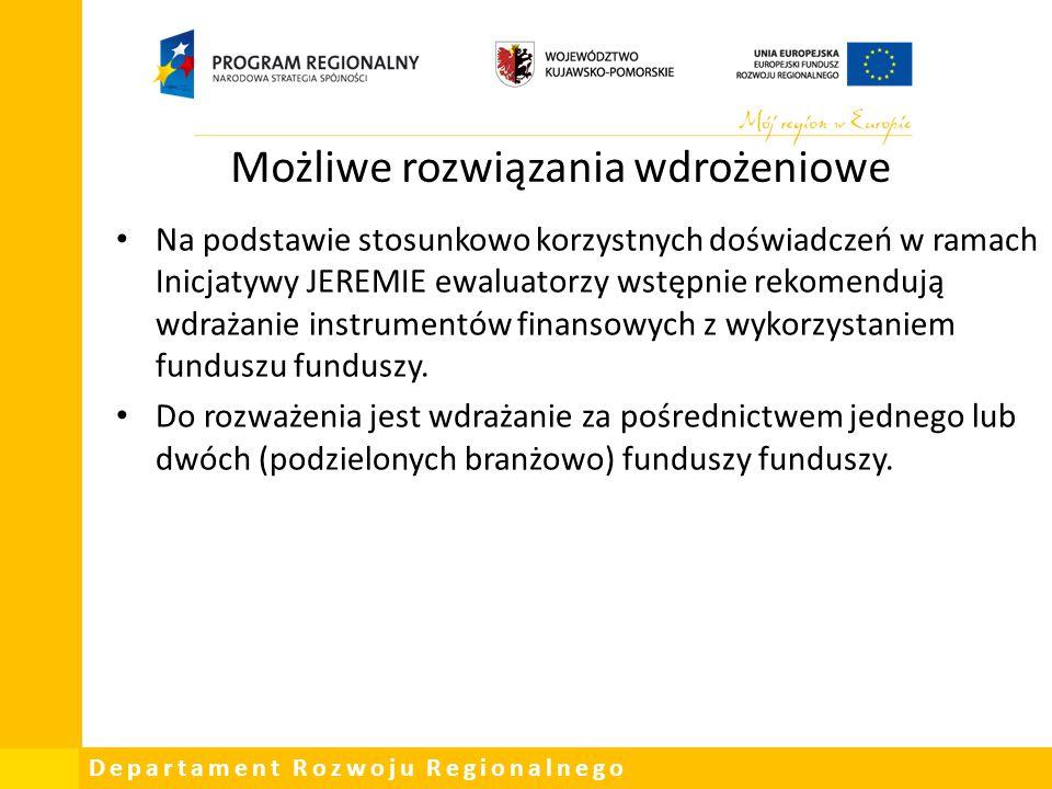 Departament Rozwoju Regionalnego Możliwe rozwiązania wdrożeniowe Na podstawie stosunkowo korzystnych doświadczeń w ramach Inicjatywy JEREMIE ewaluator