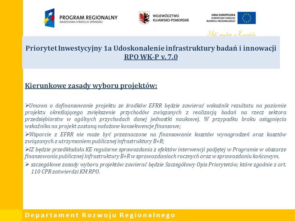 Departament Rozwoju Regionalnego Priorytet Inwestycyjny 1a Udoskonalenie infrastruktury badań i innowacji RPO WK-P v. 7.0 Kierunkowe zasady wyboru pro