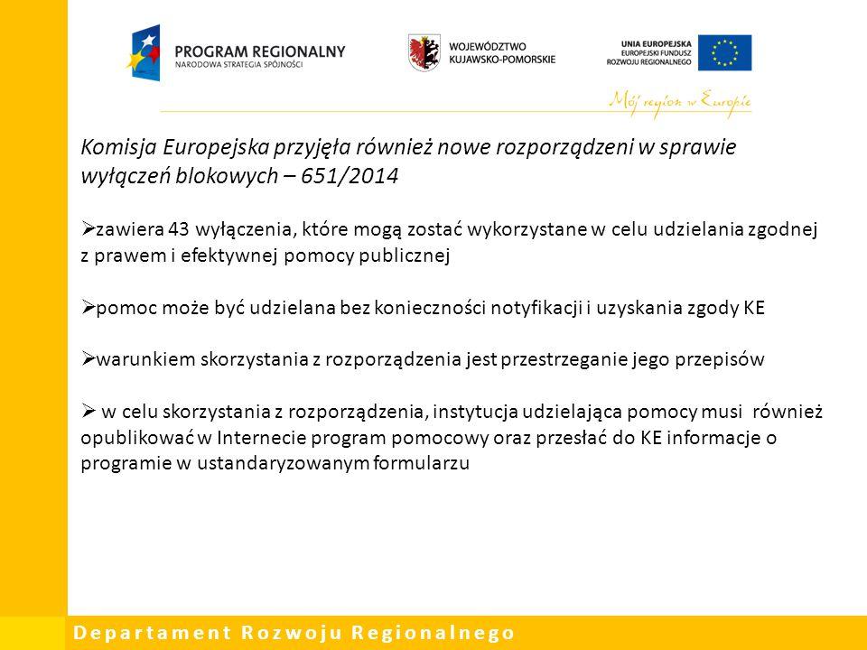 Departament Rozwoju Regionalnego Komisja Europejska przyjęła również nowe rozporządzeni w sprawie wyłączeń blokowych – 651/2014  zawiera 43 wyłączeni