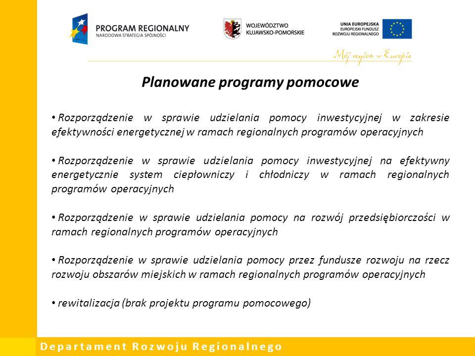 Departament Rozwoju Regionalnego Planowane programy pomocowe Rozporządzenie w sprawie udzielania pomocy inwestycyjnej w zakresie efektywności energety