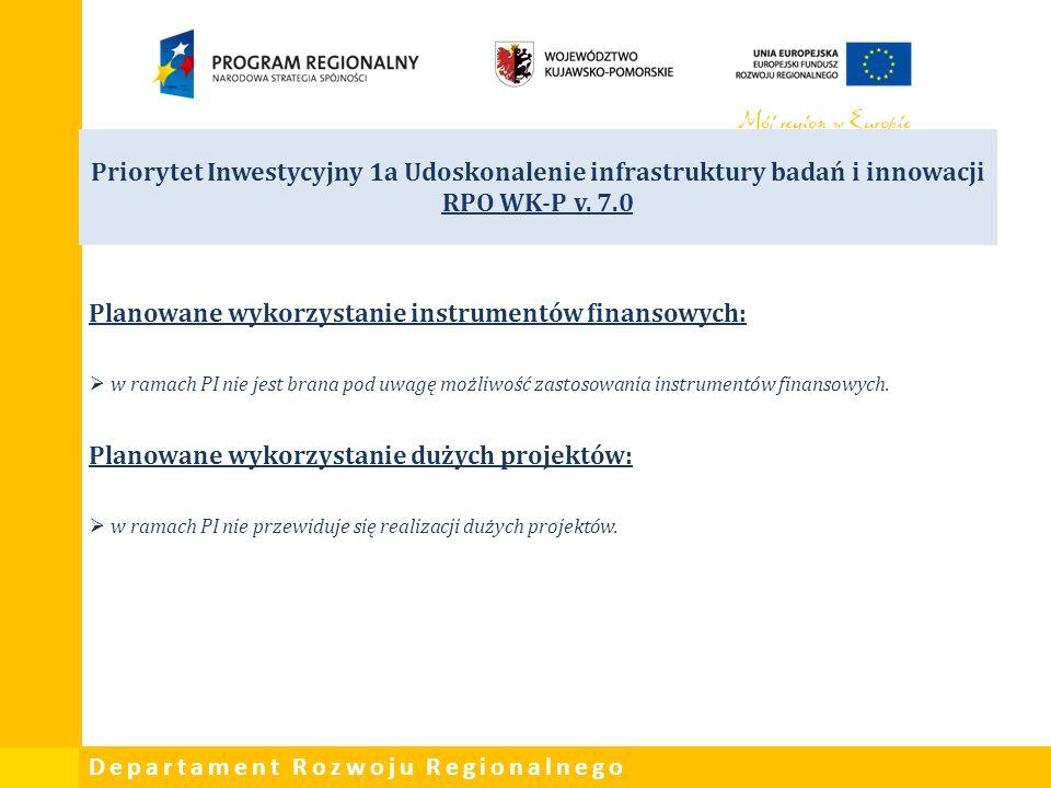 Departament Rozwoju Regionalnego Priorytet Inwestycyjny 1a Udoskonalenie infrastruktury badań i innowacji RPO WK-P v. 7.0 Planowane wykorzystanie inst