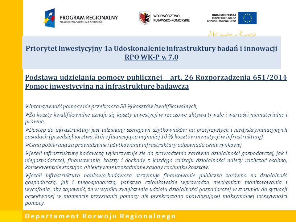 Departament Rozwoju Regionalnego Priorytet Inwestycyjny 1a Udoskonalenie infrastruktury badań i innowacji RPO WK-P v. 7.0 Podstawa udzielania pomocy p