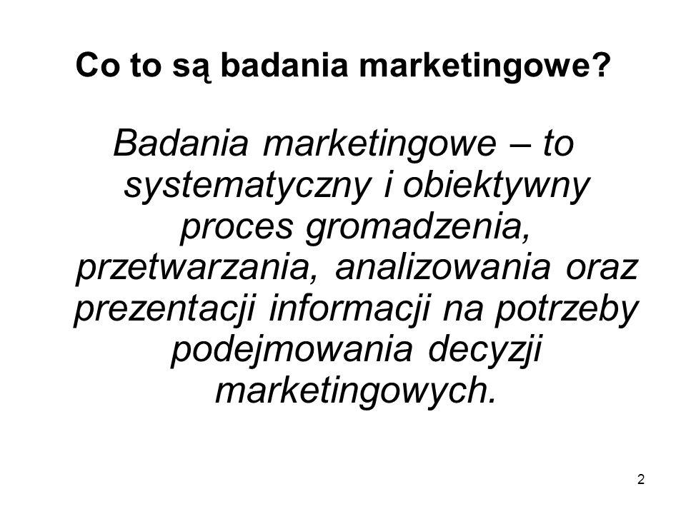 2 Co to są badania marketingowe? Badania marketingowe – to systematyczny i obiektywny proces gromadzenia, przetwarzania, analizowania oraz prezentacji