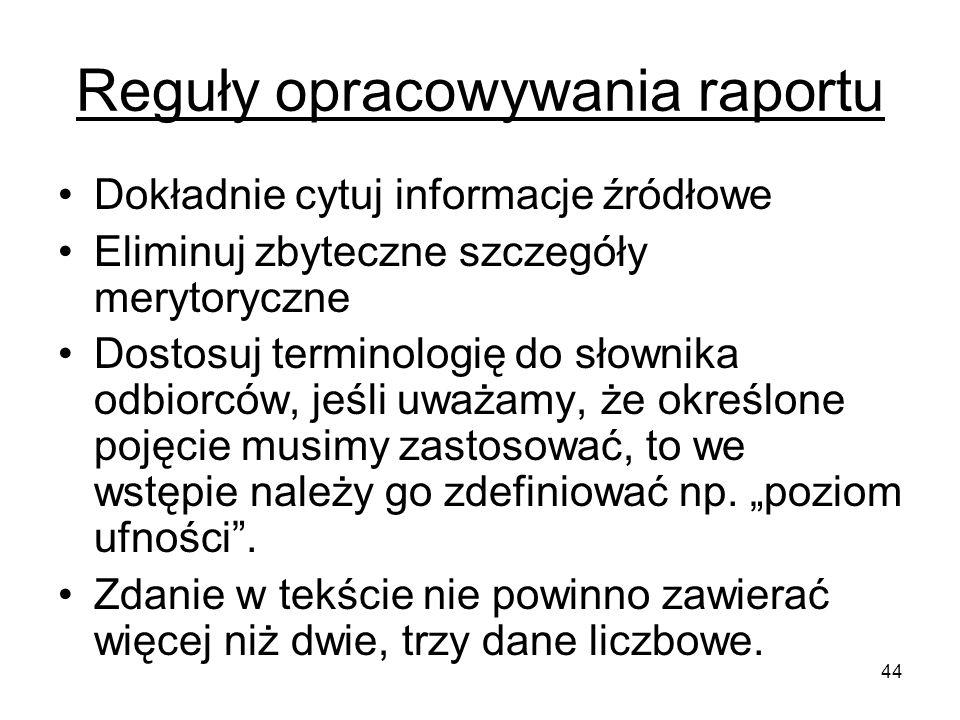 44 Reguły opracowywania raportu Dokładnie cytuj informacje źródłowe Eliminuj zbyteczne szczegóły merytoryczne Dostosuj terminologię do słownika odbior