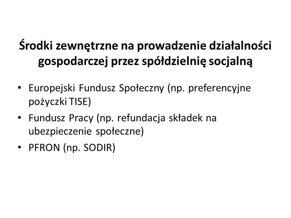 Środki zewnętrzne na prowadzenie działalności gospodarczej przez spółdzielnię socjalną Europejski Fundusz Społeczny (np. preferencyjne pożyczki TISE)