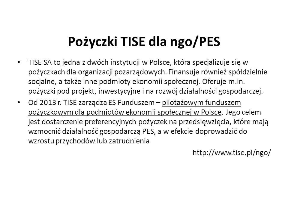 Pożyczki TISE dla ngo/PES TISE SA to jedna z dwóch instytucji w Polsce, która specjalizuje się w pożyczkach dla organizacji pozarządowych. Finansuje r