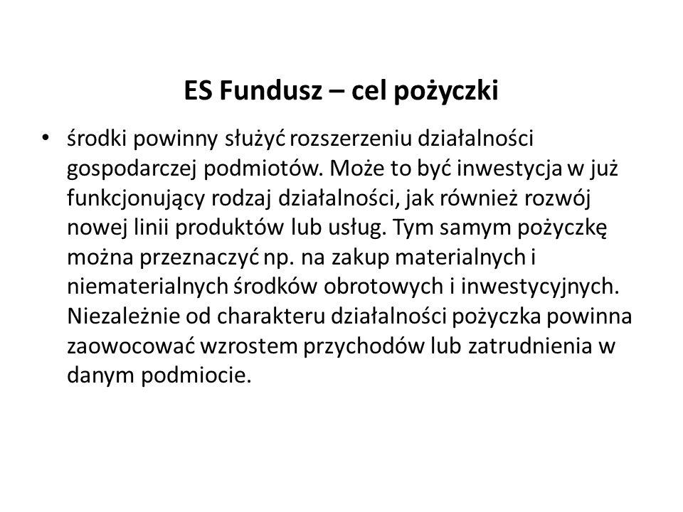 ES Fundusz – cel pożyczki środki powinny służyć rozszerzeniu działalności gospodarczej podmiotów. Może to być inwestycja w już funkcjonujący rodzaj dz
