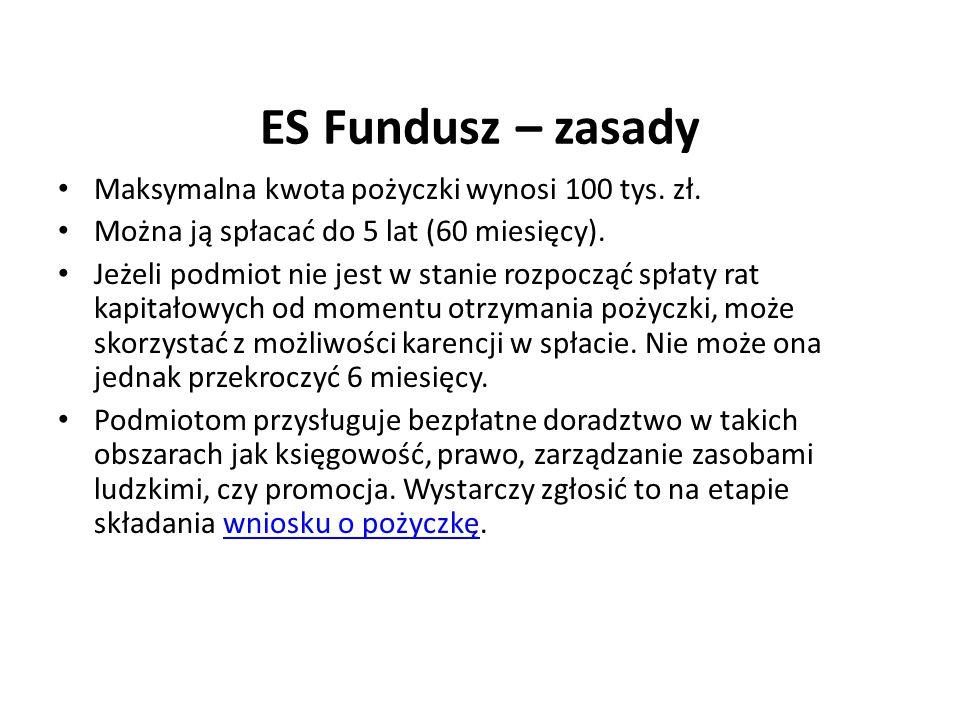 ES Fundusz – zasady Maksymalna kwota pożyczki wynosi 100 tys. zł. Można ją spłacać do 5 lat (60 miesięcy). Jeżeli podmiot nie jest w stanie rozpocząć