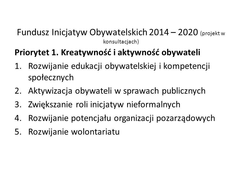 Fundusz Inicjatyw Obywatelskich 2014 – 2020 (projekt w konsultacjach) Priorytet 1. Kreatywność i aktywność obywateli 1.Rozwijanie edukacji obywatelski