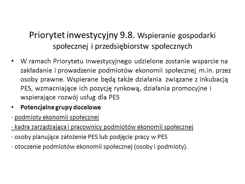 Priorytet inwestycyjny 9.8. Wspieranie gospodarki społecznej i przedsiębiorstw społecznych W ramach Priorytetu Inwestycyjnego udzielone zostanie wspar