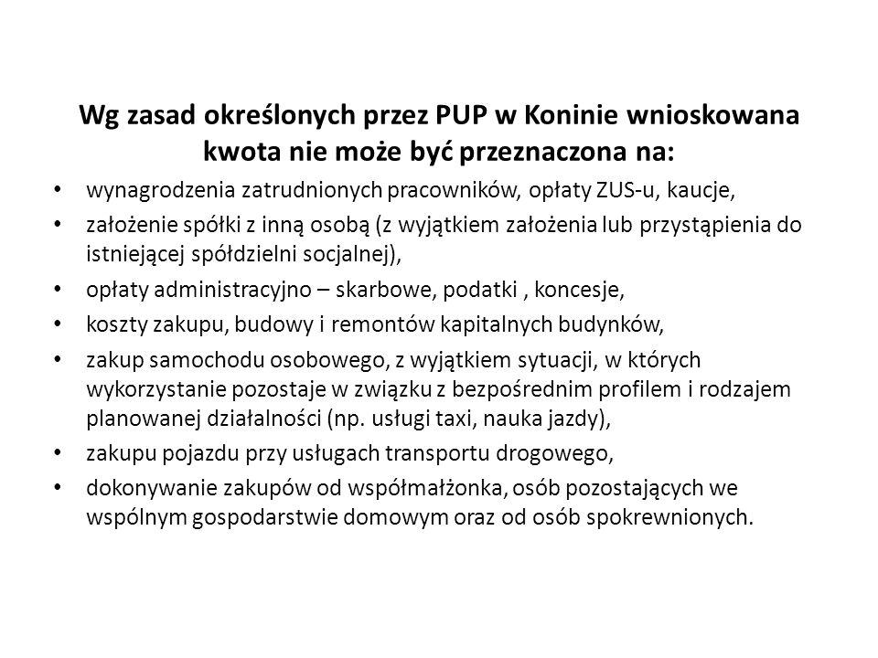 Wg zasad określonych przez PUP w Koninie wnioskowana kwota nie może być przeznaczona na: wynagrodzenia zatrudnionych pracowników, opłaty ZUS-u, kaucje