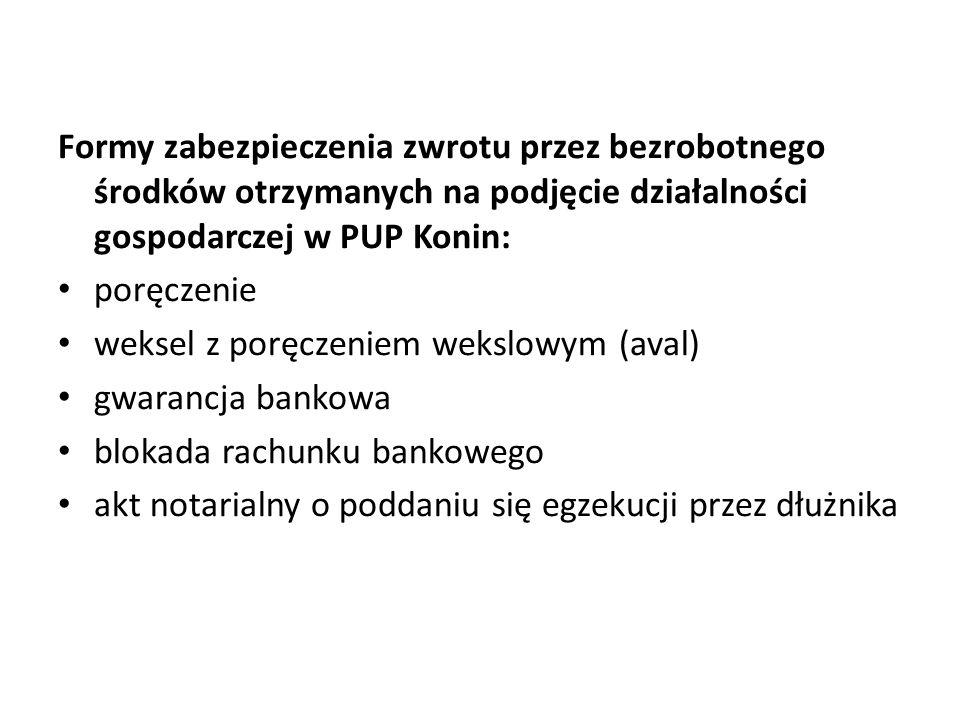 Formy zabezpieczenia zwrotu przez bezrobotnego środków otrzymanych na podjęcie działalności gospodarczej w PUP Konin: poręczenie weksel z poręczeniem